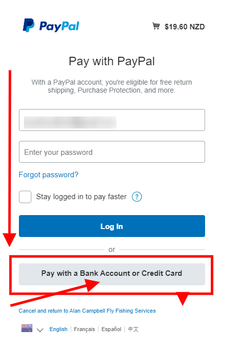 Pay by credit card without account